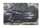 Top View of a Group of X-Wings Flying Low in a River Valley Poster von  Stocktrek Images
