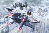 X-Wing Attacking Tie Fighter over an Artic Station Prints by  Stocktrek Images