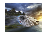 Millenium Falcon in Search of Luke Skywalker Near a Remote Island Prints by  Stocktrek Images