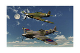 A Royal Air Force Supermarine Spitfire and Hawker Hurricane Posters av Stocktrek Images,