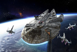 Millenium Falcon Being Escorted by X-Wings Plakater av Stocktrek Images,