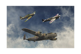 A Lancaster Bomber, a Hawker Hurricane and a Spitfire Fighter Plane of the Royal Air Force Plakater av Stocktrek Images,