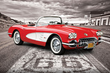 Chevrolet: Corvette- Classic Red 1959 On Route 66 Kunstdrucke