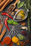 Still Life with Spices and Olive Oil Fotografisk trykk av Andrii Gorulko