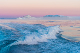Huge Stranded Icebergs at the Mouth of the Icejord Near Ilulissat at Midnight, Greenland Photographic Print by Luis Leamus
