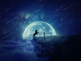 Night Scene with Boy Standing at Edge of Cliff Chasm Trying to Tame Wild Unicorn Photographic Print by Bordeianu Andrei