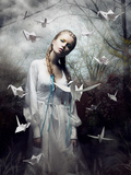 Mystery. Origami. Woman with White Paper Pigeon. Fairy Tale. Fantasy Fotografie-Druck von Iryna Hramavataya