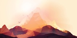 Geometric Mountain and Sunset Background - Vector Illustration Lámina fotográfica por  Inbevel