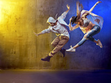 Stylish Dancers Dancing in a Concrete Place Fotografie-Druck von Konrad B?k