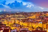 Lisbon, Portugal Skyline at Sunset Fotografisk tryk af Sean Pavone