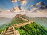 Great Wall of China at the Jinshanling Section Bedruckte aufgespannte Leinwand von Sean Pavone