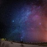 Milky Way Galaxy with Aurora Borealis or Northern Lights, Lapland, Sweden Fotografisk tryk af Ragnar Th Sigurdsson