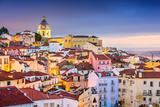 Lisbon, Portugal Twilight Cityscape at the Alfama District Fotografisk tryk af Sean Pavone