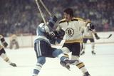 Nhl Boston Bruin Player Derek Sanderson Tripping Pittsburgh Penguin Player During Game Fotografie-Druck von Art Rickerby