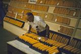1955: at the Iowa State Fair, a Judge Examine Corn Cob Entries, Des Moines, Iowa Fotografisk trykk av John Dominis