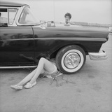 "All-Girl ""Dragettes"" Hotrod Club Working on Car Engine with Children, Kansas City, Kansas, 1959 Photographic Print by Francis Miller"