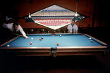 Men Paying Billiards in a Sky Room of Harris County Domed Stadium 'Astrodome', Houston, TX, 1968 Photographic Print by Mark Kauffman