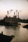 July 17 1955: Disneyland's Mark Twain River Boat, Anaheim, California Fotografisk tryk af Loomis Dean