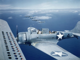 Squadron of Us Douglas Sbd-3 Dauntless in Flight as Patrolling Coral Reefs Off Midway Island, 1942 Photographic Print by Frank Scherschel