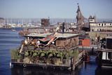 Two-Story Floating Home Covered in Hanging and Potted Plants, Sausalito, CA, 1971 Fotografie-Druck von Michael Rougier