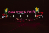 Nighttime View of the Illuminate Neon Sign at the Entrance to the Iowa State Fair, 1955 Fotografisk trykk av John Dominis