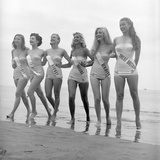 First Miss Universe Contest Contestants Wearing Bathing Suits, Long Beach, CA, 1952 Photographic Print by George Silk