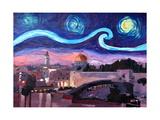 Starry Night in Jerusalem over Wailing Wall Poster par Markus Bleichner