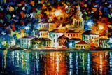 Night Harbour Poster di Leonid Afremov