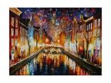Night Amsterdam Kunstdrucke von Leonid Afremov
