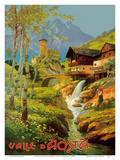 Aosta Valley (Valle D'Aosta), Italy - Italian Alps - Ski Village Posters tekijänä  Pacifica Island Art