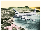 Over Oahu, Hawaii - Pan American World Airways -Diamond Head Crater, Waikiki Beach Art by  Pacifica Island Art