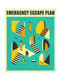Emergency Escape Plan 1 Affiche par Jazzberry Blue