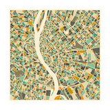 Budapest Map Art by Jazzberry Blue