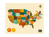 United States Typographic Map Posters par Jazzberry Blue