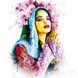 Geloof, blauwe bloem met Engelse tekst: Faith Schilderijen van Patrice Murciano