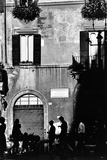 Street Scene in Rome on the Piazza Navona Stretched Canvas Print by Chris Hill