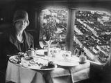Young Woman Having Breakfast on Board of an Airplane, 1928 Photographic Print by Scherl Süddeutsche Zeitung Photo