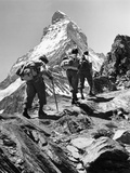 Climbers on the Matterhorn Kunst op metaal van Scherl Süddeutsche Zeitung Photo