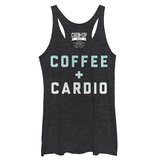 Juniors Tank Top: Coffee + Cardio Scoop Neck Damestanktops