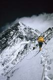 Climbers, 25,000 Feet Up, Push on Toward the Summit of Mount Everest Stretched Canvas Print by Barry Bishop