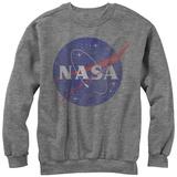 Crewneck Sweatshirt: NASA- Distressed Iconic Logo Vêtement