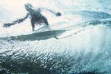 Underwater View of a Surfer on the Water's Surface Trykk på strukket lerret av Andy Bardon
