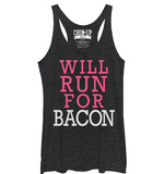 Juniors Tank Top: Will Run For Bacon Scoop Neck Womens Tank Tops