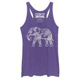 Juniors Tank Top: Hennafied Elephant Scoop Neck Damestanktops