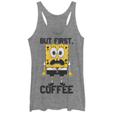 Juniors Tank Top: Sponge Bob- But First Coffee Scoop Neck Womens Tank Tops