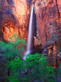 Heavy Spring Run Off Creating a Seldom Seen Waterfall in Zion National Park Stretched Canvas Print by Keith Ladzinski