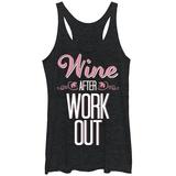 Juniors Tank Top: Wine After Workout Scoop Neck Ermeløse toppen for damer