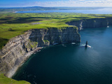 Aerial View of the Cliffs of Moher on the West Coast of Ireland Stretched Canvas Print by Chris Hill