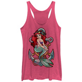 Juniors Tank Top: Disney: Little Mermaid- Ariel And Anchor Scoop Neck Ermeløse toppen for damer