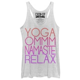 Juniors Tank Top: Yoga Mantras Scoop Neck Damestanktops